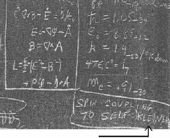 Feynman's last blackboard with zoom to corner